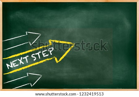 Green chalkboard with a concept of 3 arrows showing team work, success and next step, arrows going up with yellow arrow. Empty Blackboard of blackboard