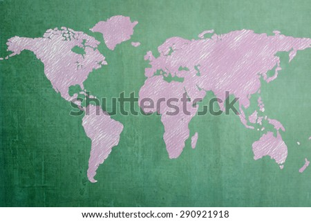 Green chalkboard with pink hand drawn world map background: Education for world literacy concept