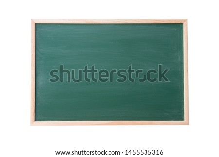 Green Chalkboard with wooden frame isolated on white background, texture for text advertise
