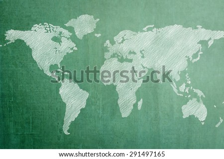 Green chalkboard with world map background : Wooden green blackboard with international global map chalk freehand drawing backdrop