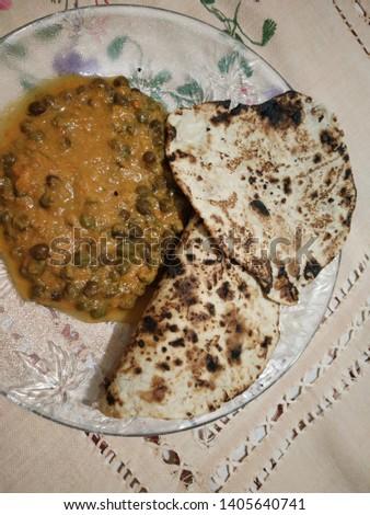 Green Chana Masala with fresh roasted Chapatis