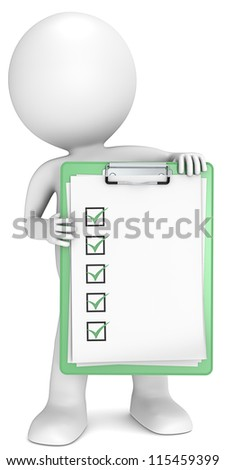Green Check List. 3D little human character holding a clipboard with check list. Green. People series.
