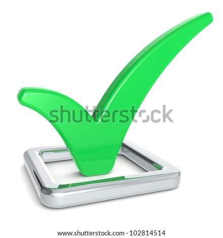 Green Check Mark. Check Mark in Check Box. Green and metal.