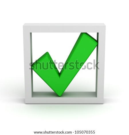 Green check mark in box on white background
