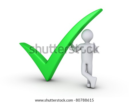 Green check mark with 3d man