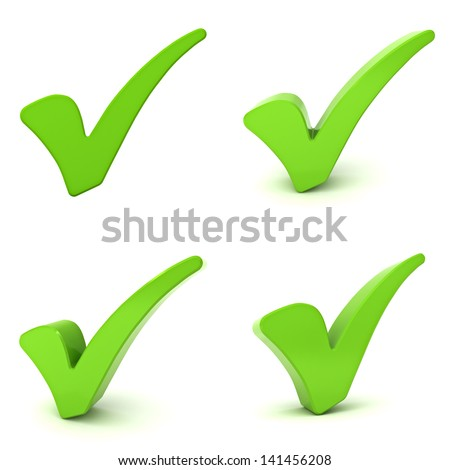Green check marks isolated over white background