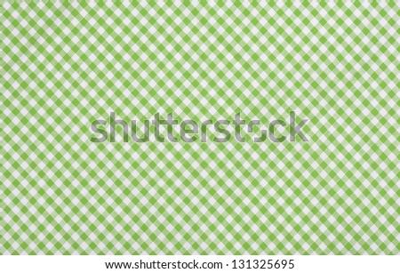 Green Checkered Fabric Closeup