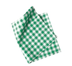 Green checkered folded cloth isolated on white,kitchen picnic towel top view.