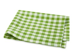 Green checkered picnic clothes isolated.Decorative cotton napkin.Plaid gingham towel.