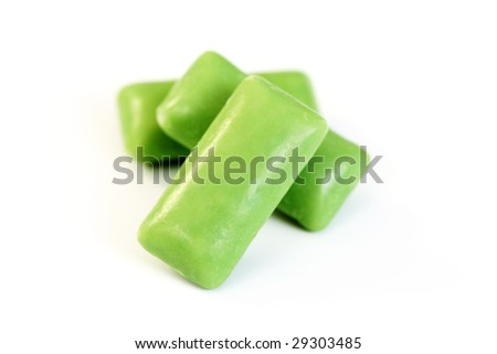 green chewing gum on white - food and drink