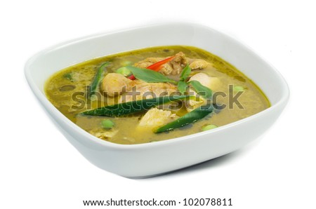Green chicken curry a popular of Thai food