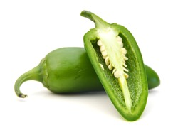green chilies (jalapeno) on white background