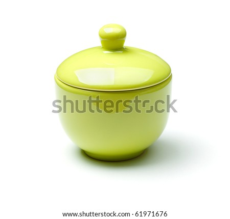 Green china soup dishware. Isolated on white