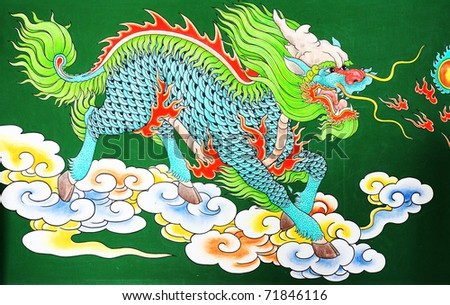 green chinese dragon at the wall of temple, Thailand | EZ Canvas