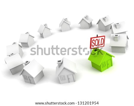 green choice house with SOLD label in other row