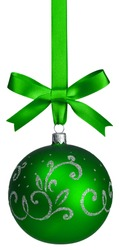 green christmas ball hanging with ribbons on white background