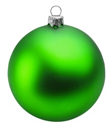 green christmas ball over white background clipping path