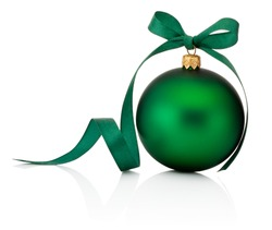 Green Christmas bauble with ribbon bow isolated on white background