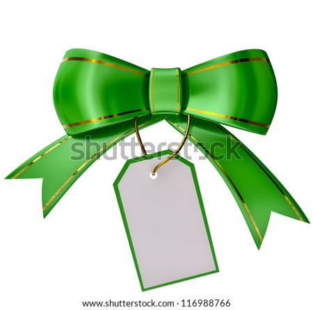 Green Christmas bow with label on white background
