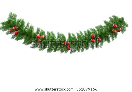 Green Christmas Decoration With Red Baulbs #351079166