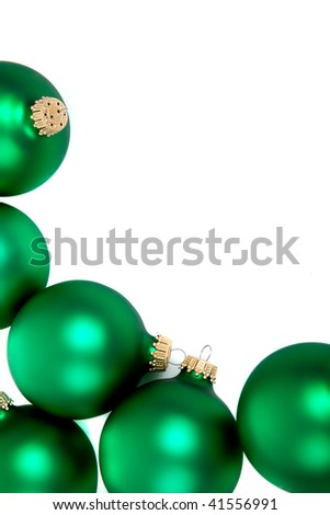 Green Christmas ornaments/bauble on a white background