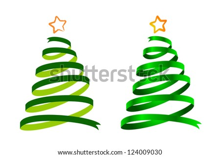 Green Christmas ribbon trees, cartoon and realistic