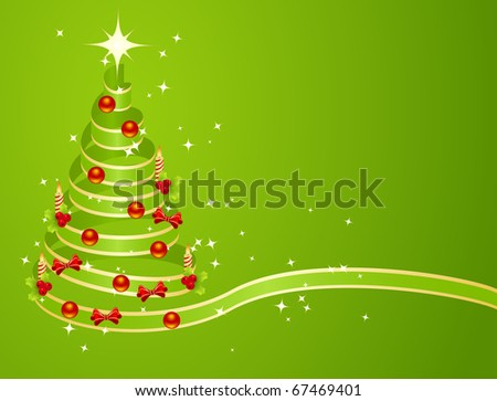 Green christmas tree from ribbon background