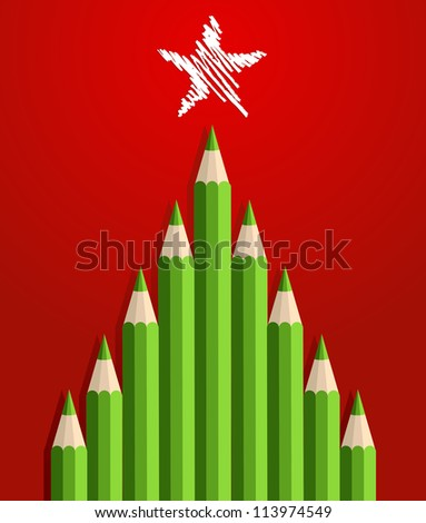 Green Christmas tree pencils greeting card.