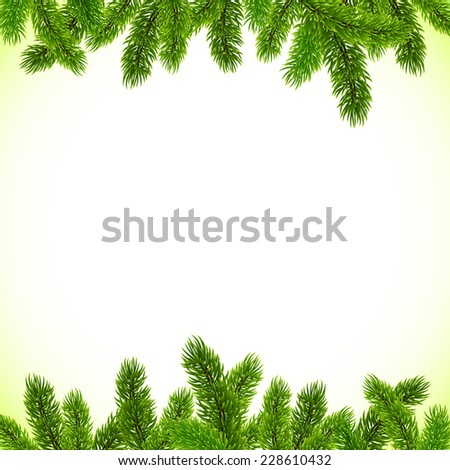 Green Christmas tree realistic branches frame | EZ Canvas