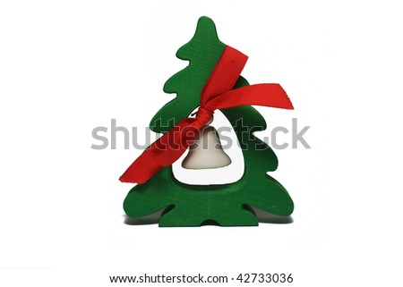 green christmas tree with white bell and red bow