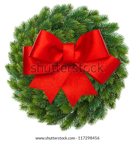 green christmas wreath with red ribbon bow isolated on white background. festive decoration - stock photo