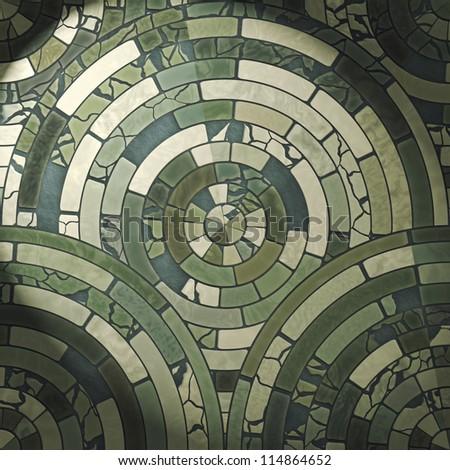 Green circle stone floor tiles