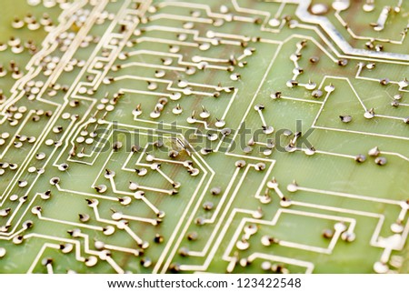 Green circuit Board close-up