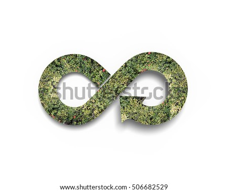 Green circular economy concept. Arrow infinity symbol with grass, isolated on white background. #506682529