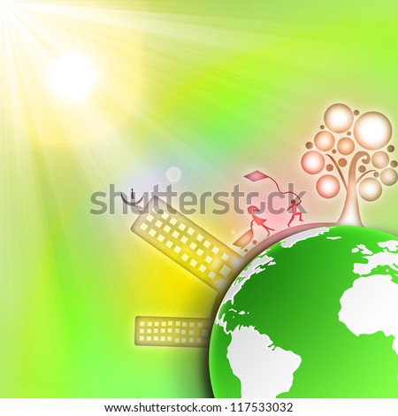 green cities in the all world - stock photo