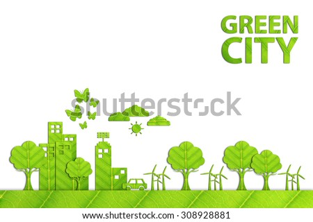 Green city - Ecology concept made from green leaf.