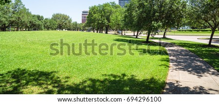 Green city park in midtown area of Houston at daytime during spring season. Row of huge oak trees, grassy lawn, pathway and clear blue sky. Urban recreation and outdoor activities background. Panorama #694296100