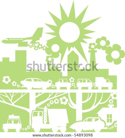 Green city silhouette color raster illustration