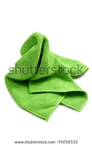 Green cleaning rag isolated on white