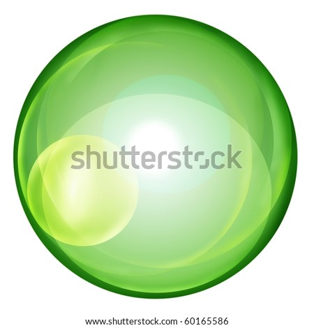 green clear ball on white background