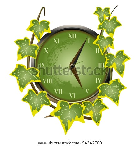 Green clock overgrown with ivy suggesting the passing of time. A vector illustration version of this image is also available in my portfolio.