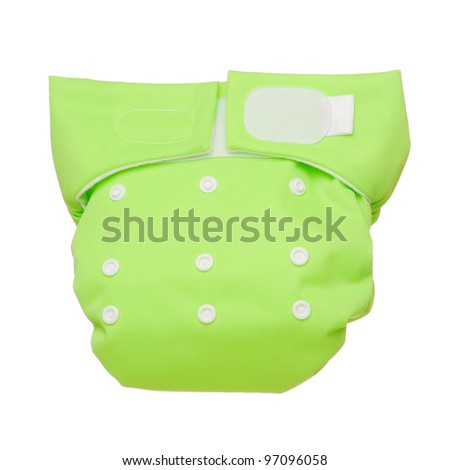 Green cloth diaper isolated on white background