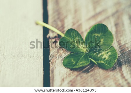 Green clover leaf on wooden background, close up #438124393
