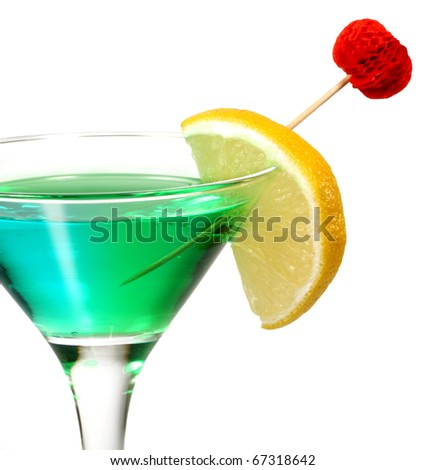 Green cocktail  on white
