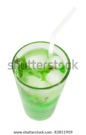 Green cocktail with herb isolated on white background, top view