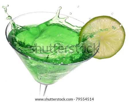 Green cocktail with lime splash - stock photo