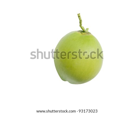 Green coconut Fruit isolated on white