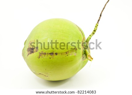 Green coconut isolated on the white background.
