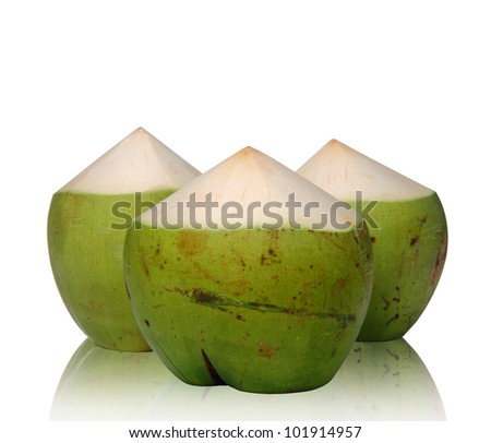 Green Coconut with reflect on white background, clipping path.