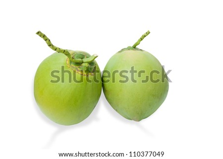 Green coconuts fruit isolated on white with clipping path and shadow